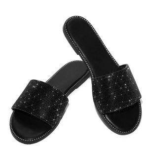 Wild Diva Shoes - NEW🔥 Open Toe Rhinestone Band Slide Sandal Shoes